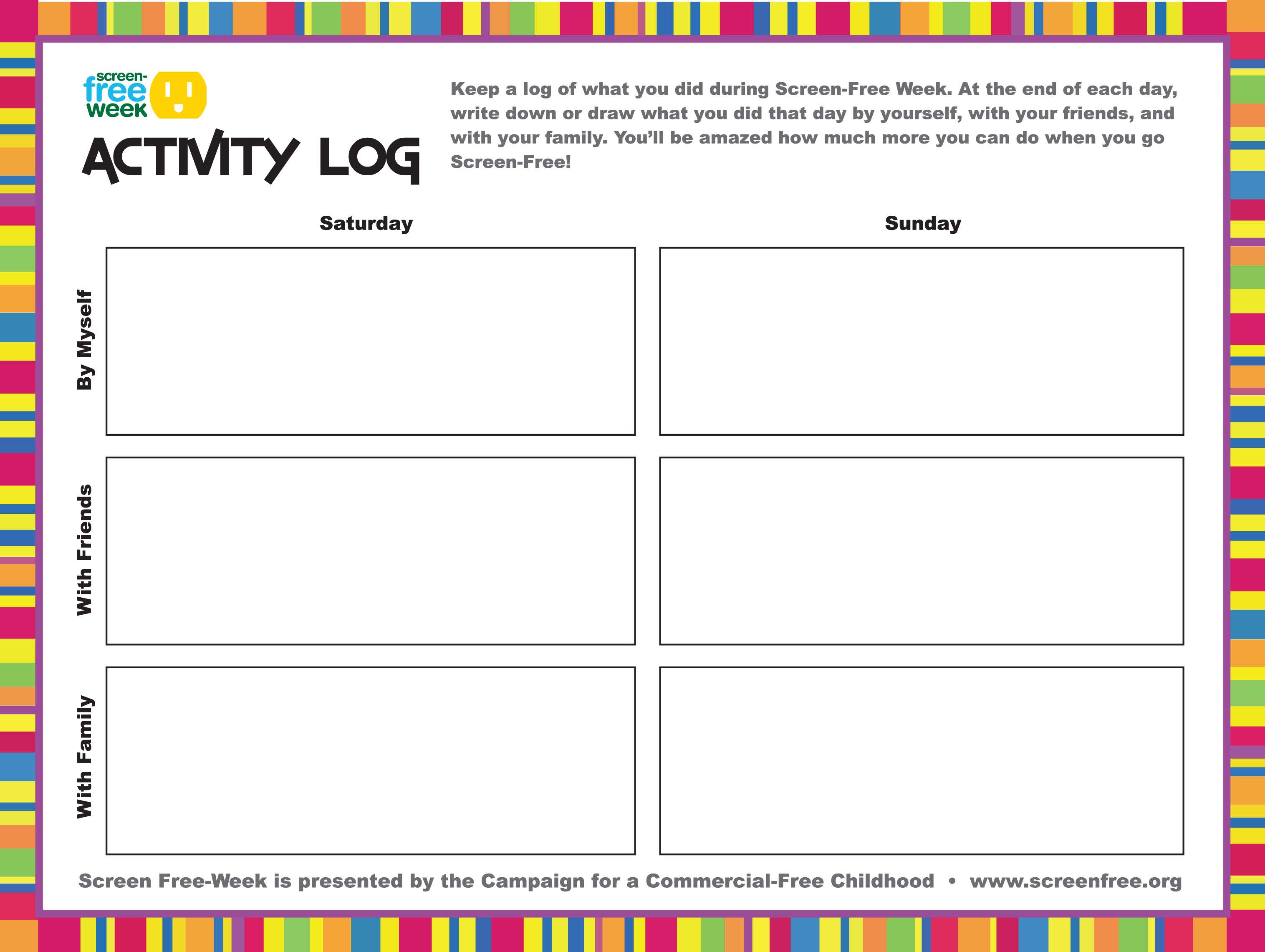 Screen Free Week Activity Log