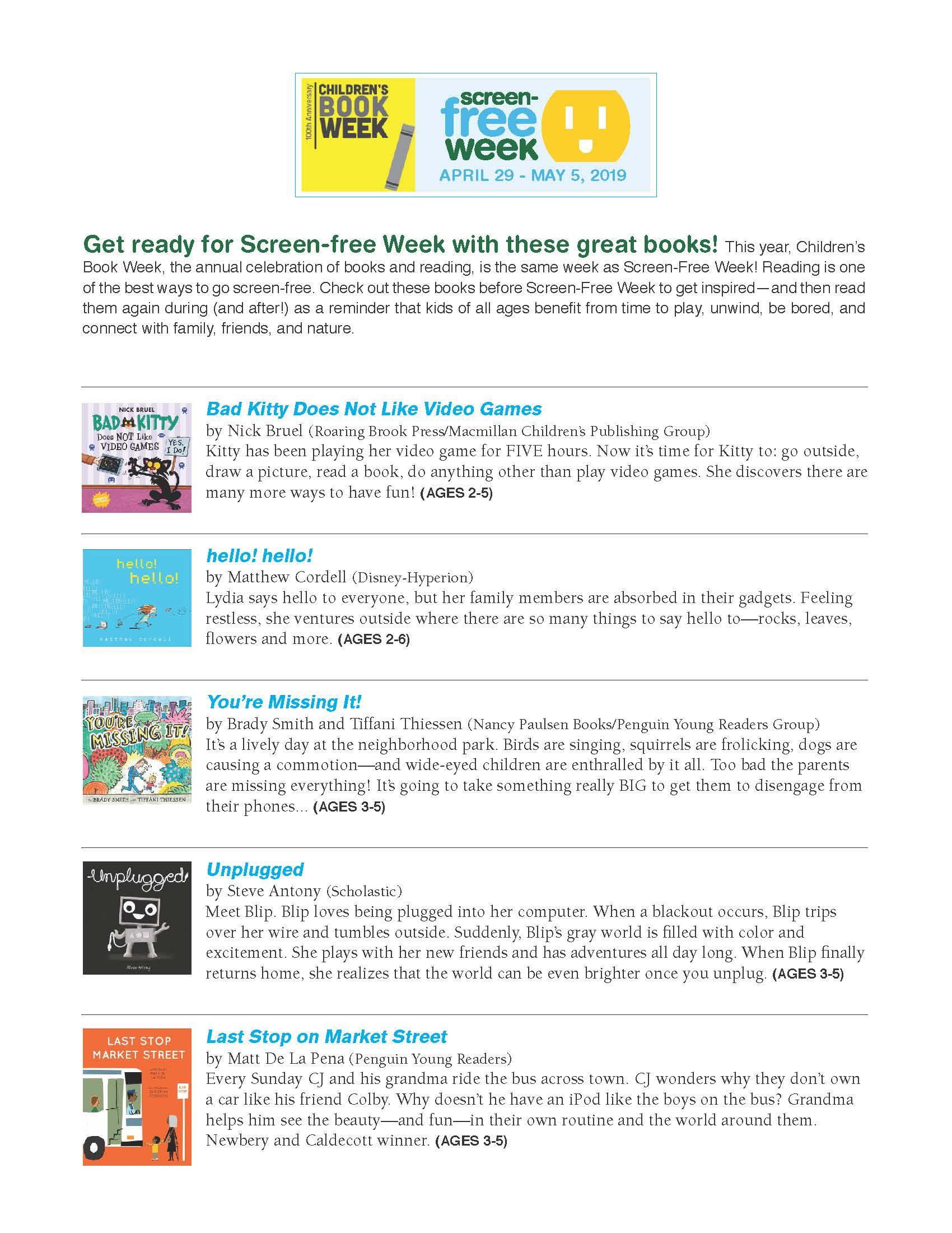 Screen Free Week Book List