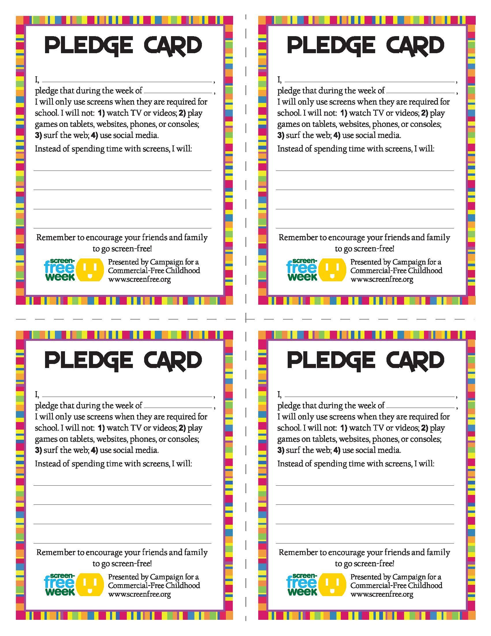 Screen Free Week Pledge