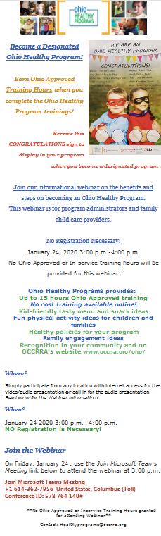 Webinar:  Become an Ohio Healthy Program